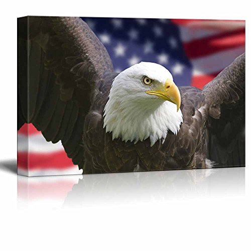 Canvas Prints Wall Art - Bald Eagle with American Flag Patriotic Concept | Modern Wall Decor/Home Decoration Stretched Gallery Canvas Wrap Giclee Print & Ready to Hang - 16