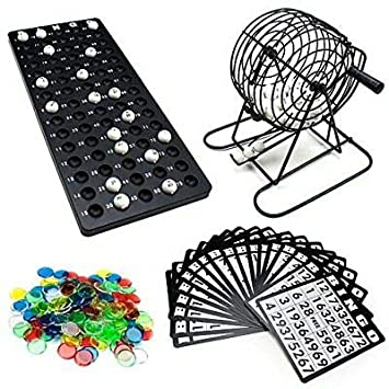 """Complete Bingo Game with 6/"""" Cage and Chips Balls Cards"""