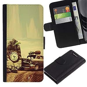 Sony Xperia Z1 Compact / Z1 Mini / D5503 , la tarjeta de Crédito Slots PU Funda de cuero Monedero caso cubierta de piel ( Retro Vintage Old School Car Vignette)