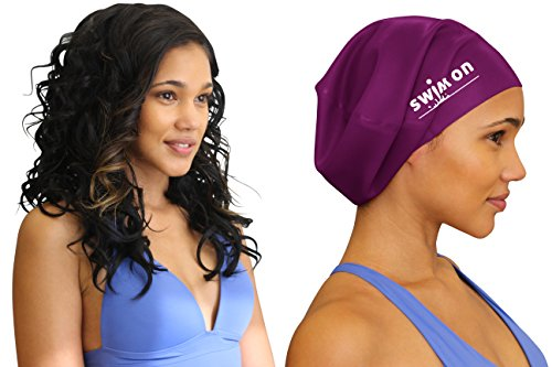 Swim On Waterproof Silicone Swim Cap, Large, Wine