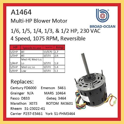 A1464, HVAC Blower Motor 1/6~1/2HP & 230V - - Amazon.comAmazon.com