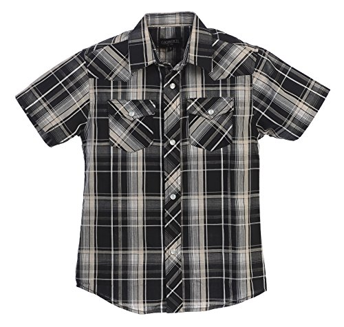 Gioberti Boys Casual Western Plaid Pearl Snap-on Buttons Short Sleeve Shirt, Black/Gray/Tan : Size 4