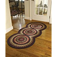 Folk Art Style Braided Rug Runner, 30 X 72