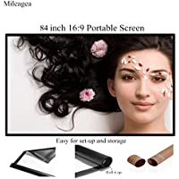 Mileagea 84 inch 16:9 Portable Projection Screen Home Cinema PVC Fabric 3 lbs Only