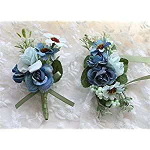 MOJUN Bride Groom Flowers Rose Corsages and Boutonnieres Set Wedding Rose Corsage 58