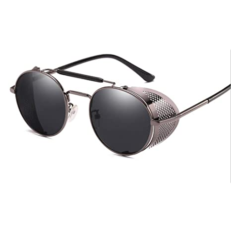 Lzww Gafas de Sol Retro Ronda Steampunk Gafas de Sol Hombres ...