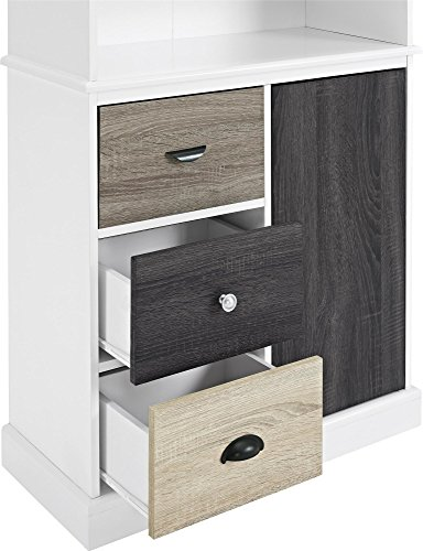 Ameriwood Home 9634096 Mercer Storage Bookcase With Multicolored Door And Drawer Fronts White