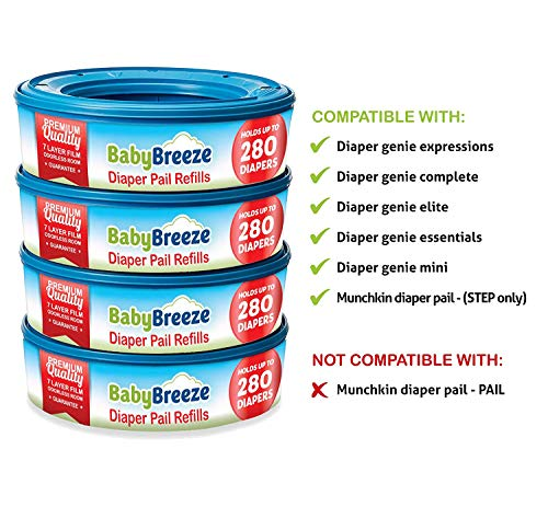 Diaper Pail Refill Bags for Playtex Diaper Genie - 1400 Count (5-Pack) - By BabyBreeze by BabyBreeze (Image #1)