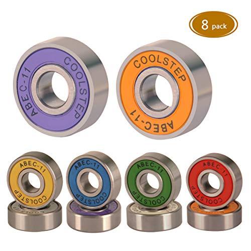 - Spruce Skateboard Bearing, ABEC-9/ABEC-11 High Speed Wearproof Skating Steel Wheel Roller, Precision Skate Bearings for Longboard, Kick Scooter, Inline and Roller Skates (abec-11 (Colorful)-8pack)