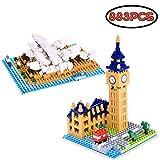 Children's Building Blocks Sydney Opera House (436 pcs) and Big Ben (447 pcs) DIY Indoor Activities Educational Toy Set - 883 pcs (Micro Size)