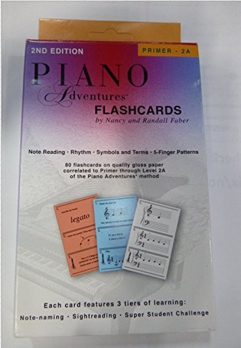 Faber Music Piano Adventures FlashCards Primer Level Through 2A Elementary) - Faber Piano (Standard)