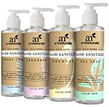 ArtNaturals Natural Hand Sanitiser Gel – (4 x 7.4 Fl Oz / 220ml) – Made with Essential Oils, Jojoba Oil, Aloe Vera - Set Includes Scent Free, Coconut, Lavender and Tea Tree Sanitizer