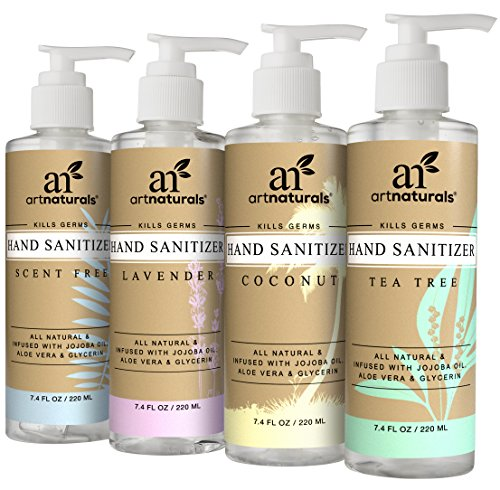 (ArtNaturals Natural Hand Sanitiser Gel – (4 x 7.4 Fl oz / 220ml) – Made with Essential Oils, Jojoba Oil, Aloe Vera - Set Includes Scent Free, Coconut, Lavender and Tea Tree Sanitizer)