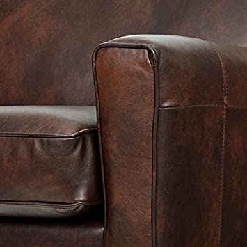 Rivet Lawson Mid-Century Modern Angled Leather Loveseat Sofa Couch, 78 W, Driftwood
