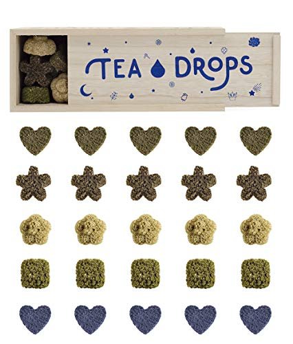Tea Drops Instant Organic Pressed Teas - Herbal Tea Sampler Assortment Box - Dissolves in your Cup Eliminating the Need for Teabags and Sweetener Packets - Loose Leaf Tea without the Fuss