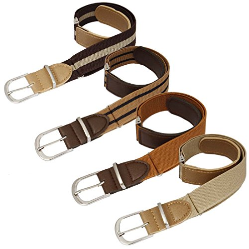 BMC Boys 4pc Striped Color Adjustable Elastic Band With Leather Loop Belt Set ()