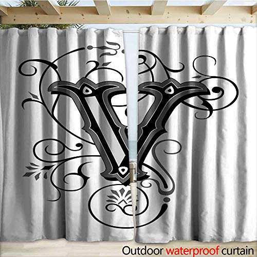 warmfamily Letter V Outdoor Door Curtain Gothic Halloween Style Uppercase V with Curved Lines Ivy Stripes Calligraphy W108 x L96 Black Grey White
