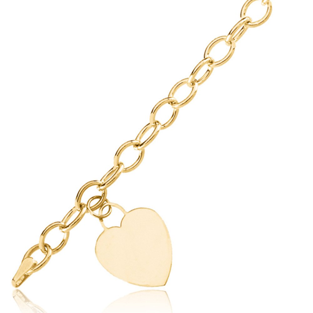 14k Yellow Gold Hollow Cable & Heart Charm Bracelet, 7.5 Inch
