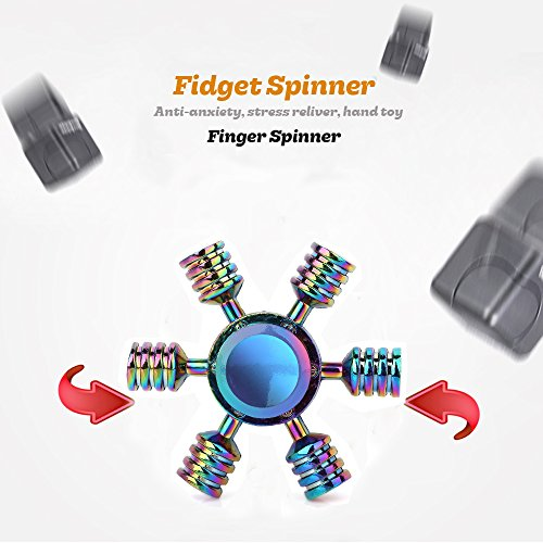 SCIONE Fidget Spinner Metal 5 Pack Stainless Steel Bearing 3-5 Min High Speed Stress Relief Spin ADHD Anxiety Toys for Adult Kid Autism Fidgets Best EDC Hand Spinners Finger Toy Focus Fidgeting by SCIONE (Image #5)