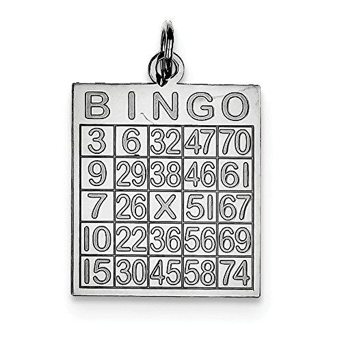 Sterling Silver Bingo Card Polished Pendant (Bingo Sterling Silver)