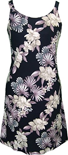 RJC Women's Tranquil Orchid Dream Short Hawaiian Bias Cut Slip Dress Black XXL (Dress Tank Tranquil)