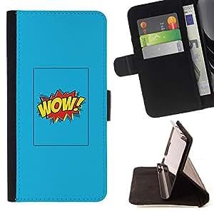 Momo Phone Case / Flip Funda de Cuero Case Cover - Comic Affiche bleue texte - Motorola Moto E ( 2nd Generation )