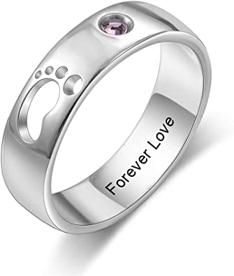 GEMSZOO Personalized Promise Rings for Her Mother Rings with 2 Simulated Birthstones Custom Name Sterling Silver Rings for Women