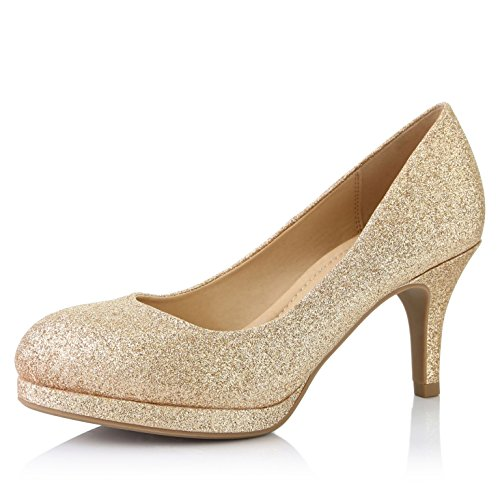 - DailyShoes Women's Classic Ankle Strap Platform Low Heels Round Toe Party Dress Pumps Shoes, Gold Glitter, 10 B(M) US