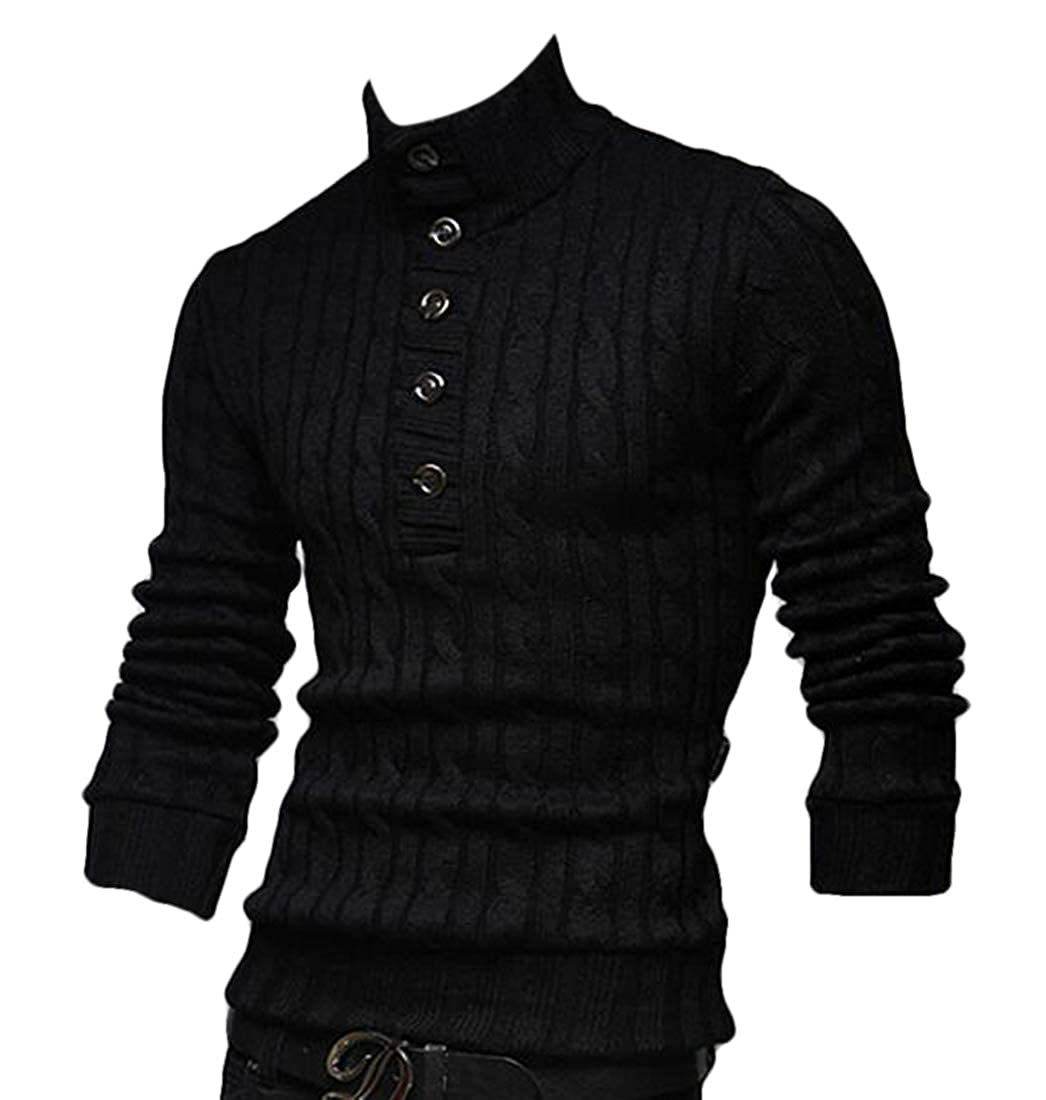 Nanquan Men Long Sleeve Solid Turtle Neck Button Knitted Pullover Sweater