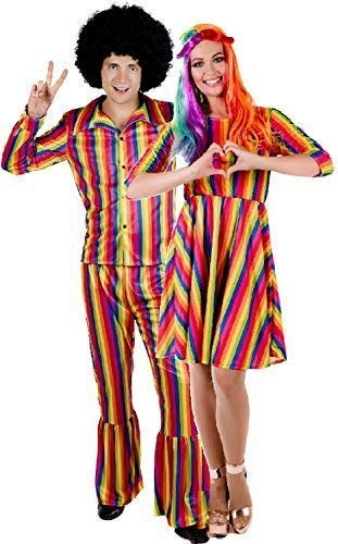 Couples Mens and Ladies Bright Rainbow Hippie Hippy His and Hers Carnival Festival Pride Mardi Gras Fancy Dress Costume Outfit (UK 20-22 - Medium) -