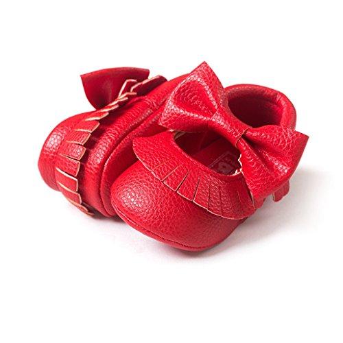 Por 0-12 meses bebé,Auxma Bebé Soft bowknot zapatos Rojo