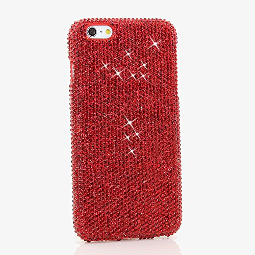 iPhone 8 Plus Case, iPhone 7 Plus Case, [Premium Handmade Quality] Bling Genuine Bright Red Crystals Hybrid Protective Cover for iPhone 8 Plus / 7 Plus by (Bright Austrian Crystals)