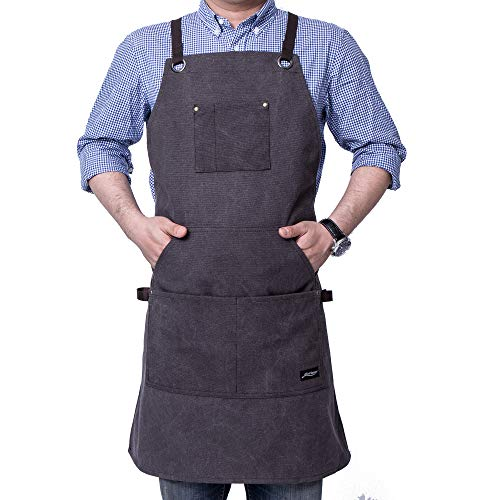 Pocket Heavy Duty Work Apron - Life Flavor Heavy Duty Canvas Work Apron with Tool Pockets, Chef Apron for Men, Cross-Back Straps, Adjustable M to XXL(Brown)