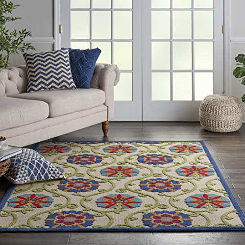 Nourison Aloha ALH19 Blue Multicolor Easy-Care Indoor-Outdoor Rug 5'3