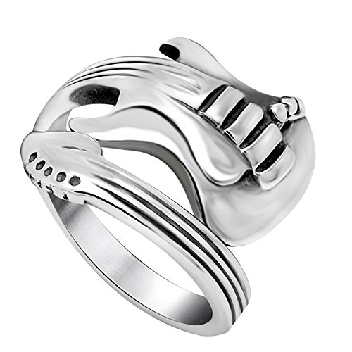 (FANSING Mens Spoon Rings, Biker Ring Stainless Steel, Size 8)