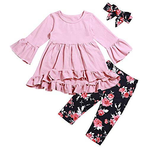 (Toddler Baby Girl Clothes Ruffle Flare Tunic Dress and Floral Leggings Pants 2Pcs Outfit Set 5T(4-5 Years))