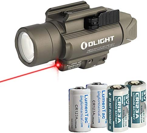 OLIGHT Baldr RL Pistol Flashlight with Red Laser Sight and 2X LumenTac CR123A