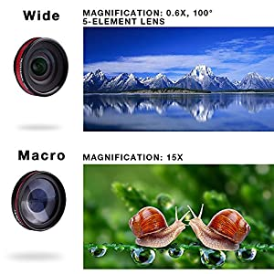 Holigoo 2 in 1 Cellphone Camera Lens kit, 0.6X HD Wide Angle Lens & 15X Macro Lens, Clip-On Professional Cell Phone Lens for iPhone 7/iPhone 6s/6s Plus/6/5, Samsung & Most Smartphones
