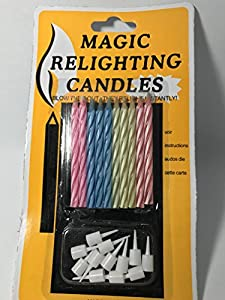 3 Pack of Colorful MAGIC Birthday Candles, Trick Best For Party, Birthday, Christmas, Celebration [10 Pieces Per Pack]