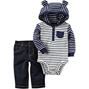 Carter's Baby Boys' 2 Piece Striped Hooded Bodysuit Pants Set 6 Months Light Blue