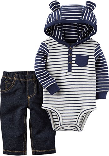 Carter's Baby Boys' 2 Piece Hooded Bodysuit Pants Set 3 Months