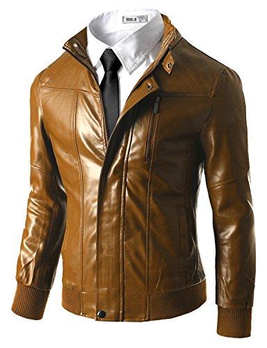 Doublju Men Fashionable Regular Fit Motorcycle Zipper Short Faux Leather Jacket KHAKI,XL