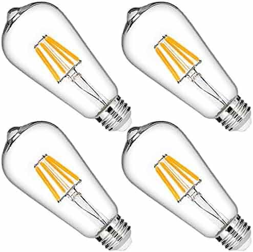 60W Equivalent Filament LED Bulb, DORESshop Dimmable ST64 Vintage Edison Light Bulbs, Soft White White 2700k, 600LM, E26 Medium Base Antique Home Decor Lighting for Bathroom, Dinning Room, 4 Pack