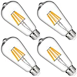 DORESshop LED Filament Bulb, 60W Equivalent, Dimmable ST64 Vintage Edison Light Bulbs, 6W Bulb, 2700K Warm White, 600LM, 330 Degree, E26 Medium Base for Home Lighting, 4 Pack