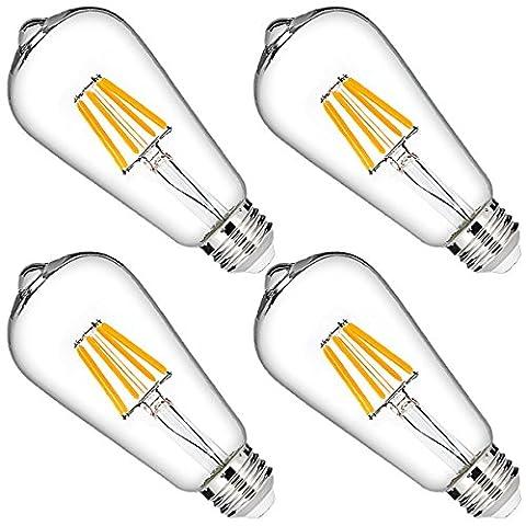 DORESshop LED Filament Bulb, 6W ST64 Vintage Edison Bulb, 60W Equivalent Dimmable LED Light Bulb, Natural White 4000K, 600LM, 330 Degree Angle, E26 Base Antique LED Bulb for Pendant Lighting (4 (60w Led Edison Bulb)