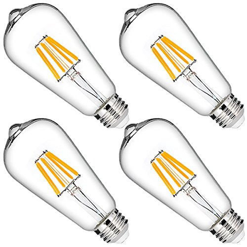 DORESshop LED Filament Bulb, 60W Equivalent, Dimmable ST64 Vintage Edison Light Bulbs, 6W Bulb, 2700K Warm White, 600LM, 330 Degree, E26 Medium Base for Home Lighting, 4 Pack by DORESshop