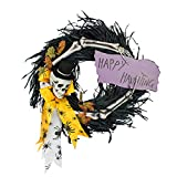 DII Decorative Skeleton 16'' Happy Hunting Wreath with Black Feathers for Front Door or Indoor Wall Décor to Celebrate Halloween