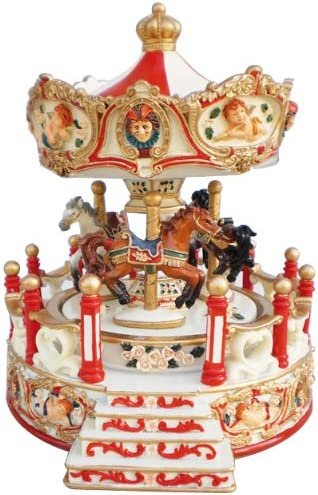 Musicbox World 14150 Blue Carousel with Porch Playing Unchained Melody