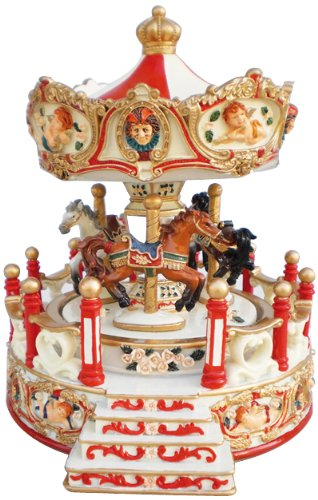 (MusicBox Kingdom 14198 Carousel Angel with Porch Music Box Playing