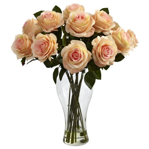 Nearly Natural 1328-PH Blooming Roses with Vase, - Best Vase Wishes Flower